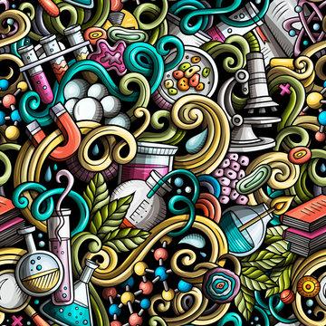 Cartoon cute doodles hand drawn Science seamless pattern