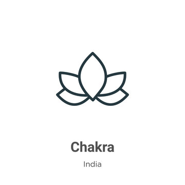 Chakra outline vector icon. Thin line black chakra icon, flat vector simple element illustration from editable india concept isolated on white background