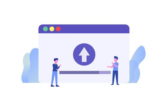 System Upgrade. Uploading illustration concept for web landing page template, banner, flyer and presentation