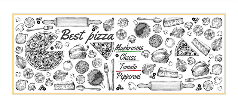Drawing, pizza, table, organic food ingredients. Hand drawn pizza illustration. Great for menu, poster or label.