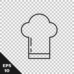 Black line Chef hat icon isolated on transparent background. Cooking symbol. Cooks hat. Vector Illustration