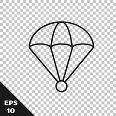 Black line Parachute icon isolated on transparent background. Vector Illustration