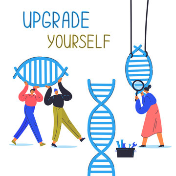 Biohacking vector illustration.Biological health engineering.Men and woman explore and modify the human DNA.Laboratory research human concept illustration.Woman with magnifier,men carry dna link