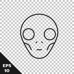 Black line Alien icon isolated on transparent background. Extraterrestrial alien face or head symbol. Vector Illustration