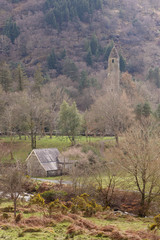 The round tower and the priest house at Glendalough Ireland