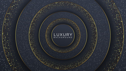Abstract Black Gold Luxury Background with Halftone Pattern and Glowing Wave gold texture.