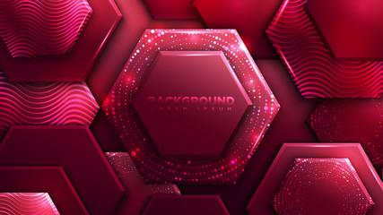 Abstract Red Polygon Luxury Background with Glowing Halftone Pattern and Wave Textures