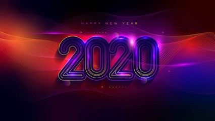 Happy New Year Greeting Card with Neon Light Effect