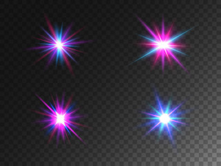 Glowing lights collection isolated on transparent backdrop. Color glare effects. Set of colorful particles. Shining rays with bright effect. Different lens flares. Vector illustration Wall mural
