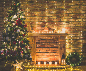 Beautiful decorated interior. Fireplace with wooden mantelpiece with fairy lights, handmade...