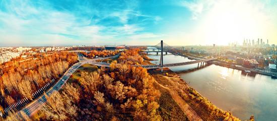 Beautiful panoramic aerial dsrone view to Swietokrzyski Bridge (Polish: Świętokrzyski) and The...