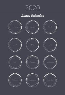 2020 moon phases calendar spiral astronomy vector chart