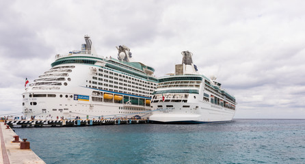 COZUMEL, MEXICO-JANUARY 17, 2019: Two Royal Caribbean ships dock in the port of Cozumel, Mexico in this illustrative editorial.