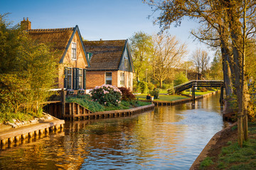 Beautiful landscape with canal, Giethoorn, Netherlands