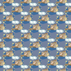 Seamless texture, pattern - dog sleeps and sees sugar bone in a dream.