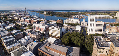 Aerial panorama of the downtown area of Savannah Georgia including the river and Talmadge Bridge.