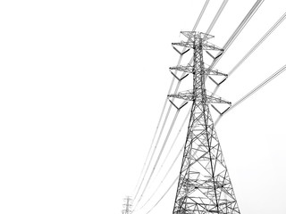 Power transmission tower with white background  Fotomurales