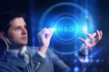 Fototapeta Business, Technology, Internet and network concept. Businessman touched r and d sign. obraz