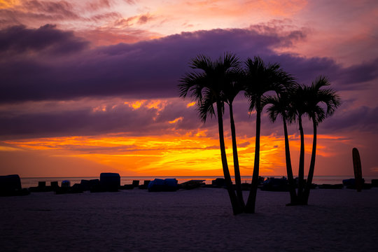 View of the sunset in St. Pete Beach, FL