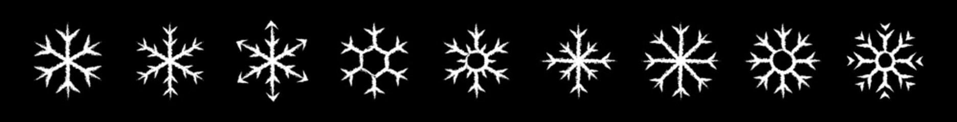 Set of icy snowflakes symbol vector illustration. White chalk sketch frozen snowflake isolated on blackboard for new year celebration snow decoration ornament or christmas festive frost flakes design