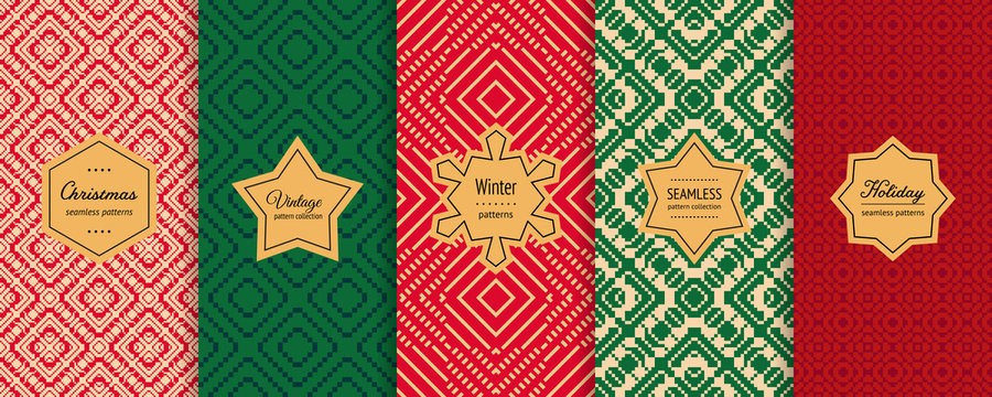 Christmas vector seamless patterns collection. Set of colorful holiday background swatches with elegant labels. Winter nordic scandinavian style abstract textures. Retro vintage design for decoration