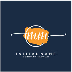 MM Initial handwriting logo design with brush circle. Logo for fashion,photography, wedding, beauty, business