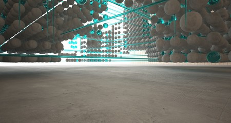 Abstract architectural wood and glass interior from an array of spheres with large windows. 3D illustration and rendering. Fotoväggar