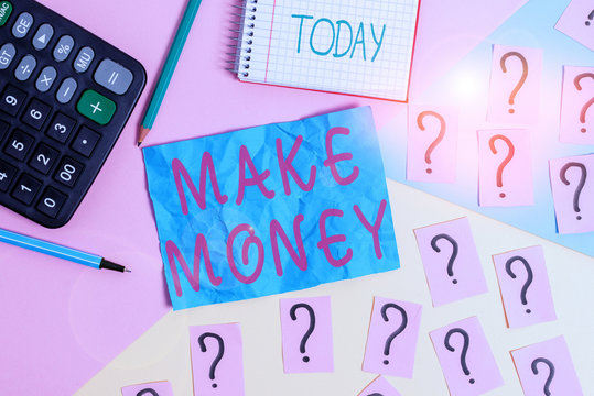 Handwriting text writing Make Money. Conceptual photo making a profit or giving the opportunity to make a profit Mathematics stuff and writing equipment above pastel colours background