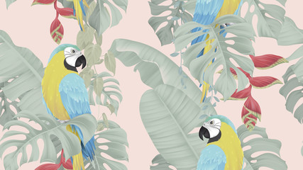 Botanical seamless pattern, various tropical leaves and blue-and-yellow macaw on light red