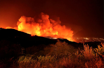 A view of the Cave fire in Los Padres National Forest near East Camino Cielo