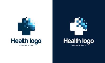 Pixel Health logo designs template, Medical logo in modern style vector, Technology logo template