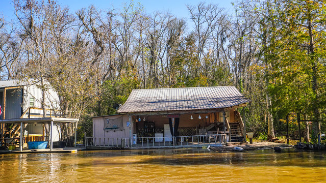A cajun home is flooded by rising water along the Pearl river in Louisiana