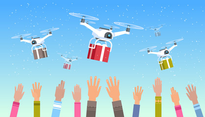 mix race human hands raised up drones delivering gift present boxes sky transportation shipping air mail express delivery concept horizontal vector illustration