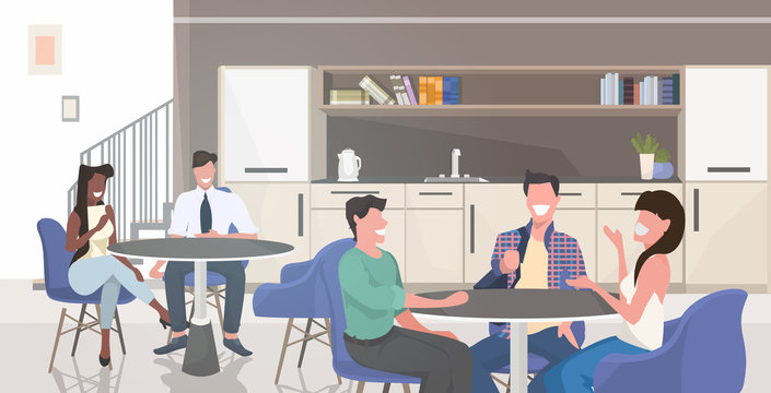 businesspoeple sitting at table having coffee break mix race business people discussing during meeting modern office kitchen dining room interior horizontal portrait vector illustration