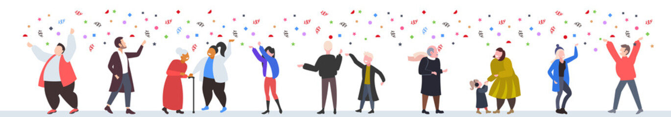 people celebrating merry christmas happy new year winter holidays concept men women standing together having confetti party horizontal full length vector illustration