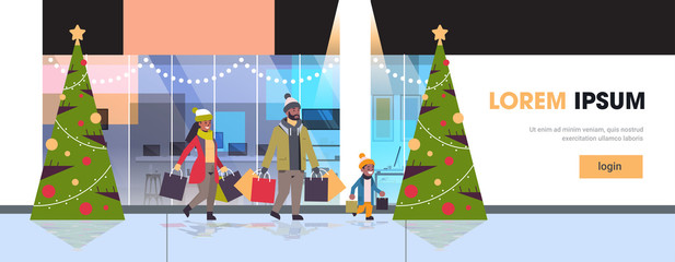 family walking with colorful paper bags merry christmas happy new year shopping concept parents with child holding purchases modern mall exterior horizontal full length copy space vector illustration