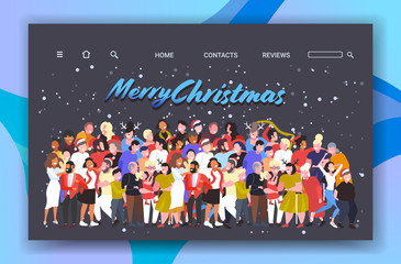 people celebrating merry christmas happy new year party winter holidays concept mix race men women crowd standing together having fun greeting card horizontal full length vector illustration