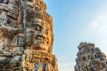 Wall Mural - Wonderful view of giant stone face of Bayon temple, Angkor