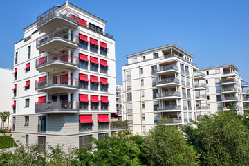 New white apartment buildings seen in Berlin, Germany
