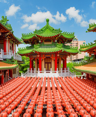 Beautiful colorful view of Sanfeng Temple in Kaohsiung, Taiwan