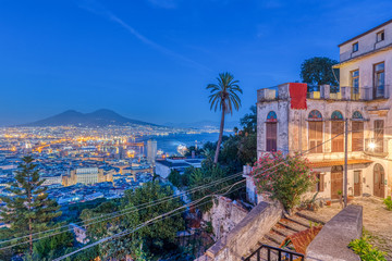 View from the Vomero district to downtown Naples in Italy at night