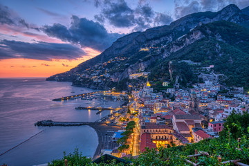 Dusk in Amalfi on the coast of the same name in Italy