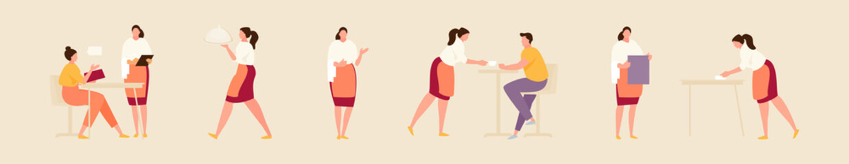 Waitress in various working situations. Vector modern illustration
