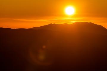 Recess Fitting Magenta Scenic Sunset in the mountains. Autumn season.