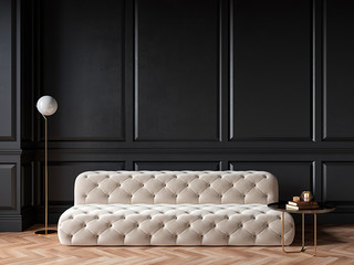 Classic black interior with capitone chester sofa, mouldings, wooden floor, floor lamp, coffee table. 3d render illustration mock up. Fotomurales