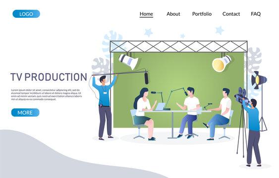 Tv production vector website landing page design template