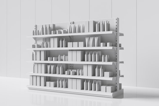 Many white products on the shelf in the supermarket to choose from. Side view. 3d rendering