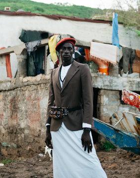 Stylish man standing in Dakar
