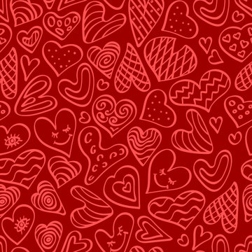 Cute hand drawn seamless pattern with heart shapes. Outline doodle elements on red background. Vector illustration.