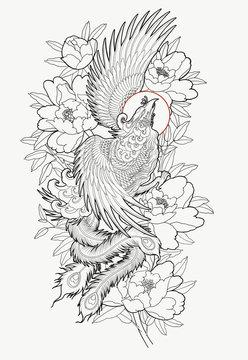 Hand drawn phoenix and flower outline tattoo design.